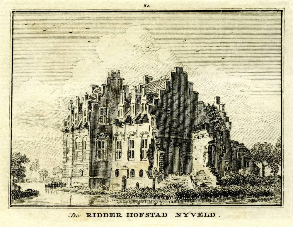Ridderhofstad Nijeveld in De Meern. Tekening Jan de Beijer, gravure Hendrik Spilman(Uit: Het Verheerlykt Nederland, Isaac Tirion, 1745/1774)